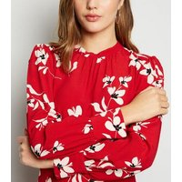 Red Floral High Neck Midi Dress New Look
