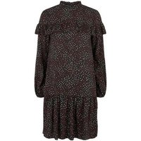 Black Brushstroke Print Frill Smock Dress New Look