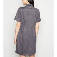 Grey Suedette Button Front Shirt Dress New Look
