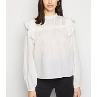 Off White Crochet Frill Trim Blouse New Look