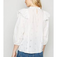 White Broderie Frill Trim Top New Look
