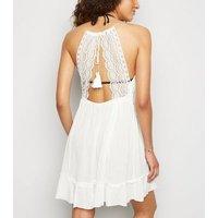 Off White Crochet Halterneck Beach Dress New Look