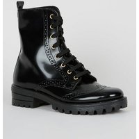 Black Leather-Look Lace Up Chunky Brogue Boots New Look Vegan
