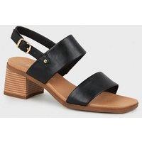 Black Leather-Look 2 Strap Block Heel Sandals New Look