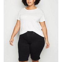 Curves Black 'Lift & Shape' Denim Knee Shorts New Look