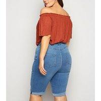 Curves Bright Blue 'Lift & Shape' Denim Knee Shorts New Look