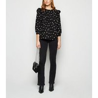 Black Polka Dot Frill 3/4 Sleeve Poplin Top New Look
