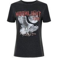Dark Grey Moonlight Tour Slogan Rock T-Shirt New Look