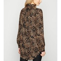 Brown Animal Print Double Pocket Shirt New Look