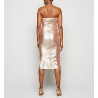 Blue Vanilla Pink Sequin Bodycon Midi Dress New Look