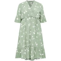 Blue Vanilla Curves Green Floral Wrap Midi Dress New Look