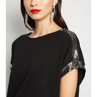 Apricot Black Sequin Panel Dress New Look