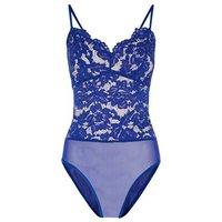 Blue Floral Lace Bustier Bodysuit New Look