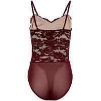 Burgundy Floral Lace Bustier Bodysuit New Look