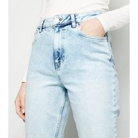 Bright Blue Bleach Wash High Waist Tori Mom Jeans New Look