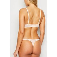 Cream Satin Lace Trim Thong New Look