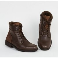 Dark Brown Leather-Look Chunky Hiker Boots New Look
