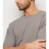 Pale Grey Textured Grid Oversized T-Shirt New Look