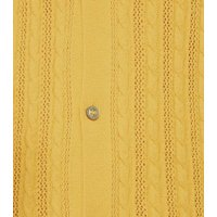 Yellow Cable Knit Button Up Polo Shirt New Look