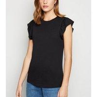 Black Frill Trim Cap Sleeve Top New Look