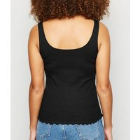Black Ribbed Frill Scoop Neck Vest New Look