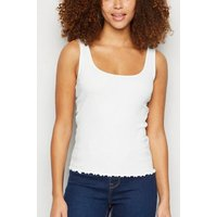 White Ribbed Frill Scoop Neck Vest New Look