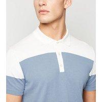 Pale Blue Colour Block Polo Shirt New Look