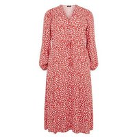 Curves Red Floral Frill Midi Dress New Look