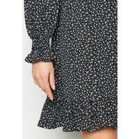 Black Ditsy Floral Frill Hem Mini Dress New Look