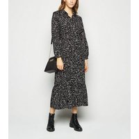 Black Spot Tiered Midi Shirt Dress New Look