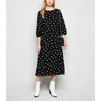 Black Spot Ruffle Smock Midi Dress New Look