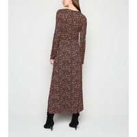 Tall Black Floral Long Sleeve Midi Dress New Look