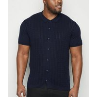 Plus Size Navy Cable Knit Polo Shirt New Look