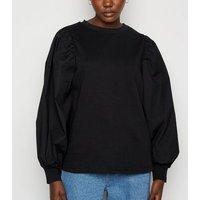 Black Poplin Puff Sleeve Sweatshirt New Look