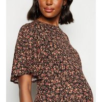 Maternity Black Floral Flutter Sleeve Midi Dress New Look