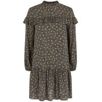 Petite Black Spot Frill Trim Smock Dress New Look