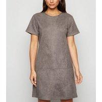 Petite Dark Grey Suedette Mini Dress New Look