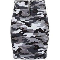 Girls Light Grey Camo Ring Zip Tube Skirt New Look