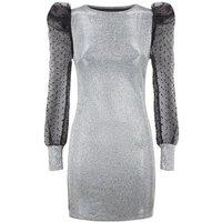 Urban Bliss Silver Glitter Organza Sleeve Dress New Look