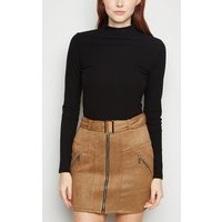 Urban Bliss Tan Suedette Belted Mini Skirt New Look
