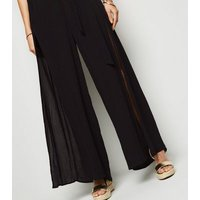 Black Split Front Belted Beach Trousers New Look