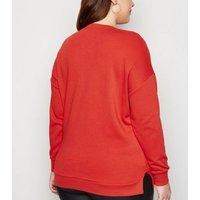 Curves Red Oh Deer Slogan Christmas Sweatshirt New Look