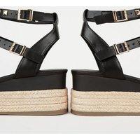 Black Stud Gladiator Espadrille Flatform Sandals New Look Vegan