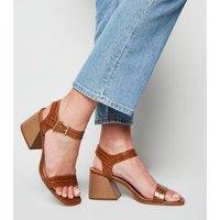 Tan Faux Croc Flared Block Heel Sandals New Look Vegan
