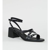 Black Leather-Look Stud Strappy Sandals New Look