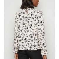 Cream Floral High Neck Long Sleeve Blouse New Look