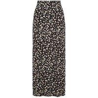 Black Floral Print Midi Skirt New Look