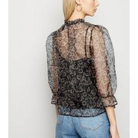 Black Floral Organza Frill Neck Blouse New Look