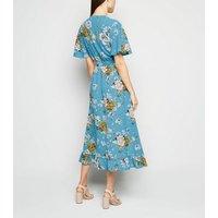 Mela Blue Floral Dip Hem Midi Dress New Look