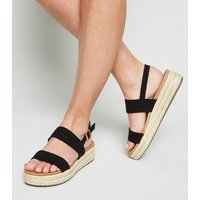 Black Suedette 2 Strap Footbed Espadrille Flatforms New Look Vegan